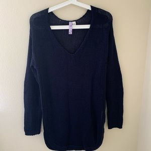 Lightweight Navy Tunic Sweater with Elbow Patches
